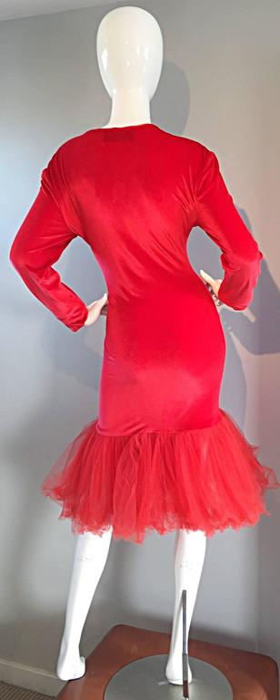 Extraordinary Patrick Kelly 1990s Vintage Red BodCon Mermaid Dress w/ Tulle Hem For Sale 3