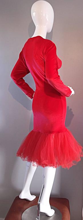 Women's Extraordinary Patrick Kelly 1990s Vintage Red BodCon Mermaid Dress w/ Tulle Hem For Sale