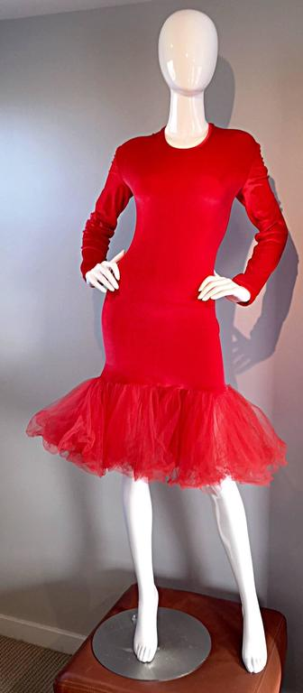 Extraordinary Patrick Kelly 1990s Vintage Red BodCon Mermaid Dress w/ Tulle Hem For Sale 5