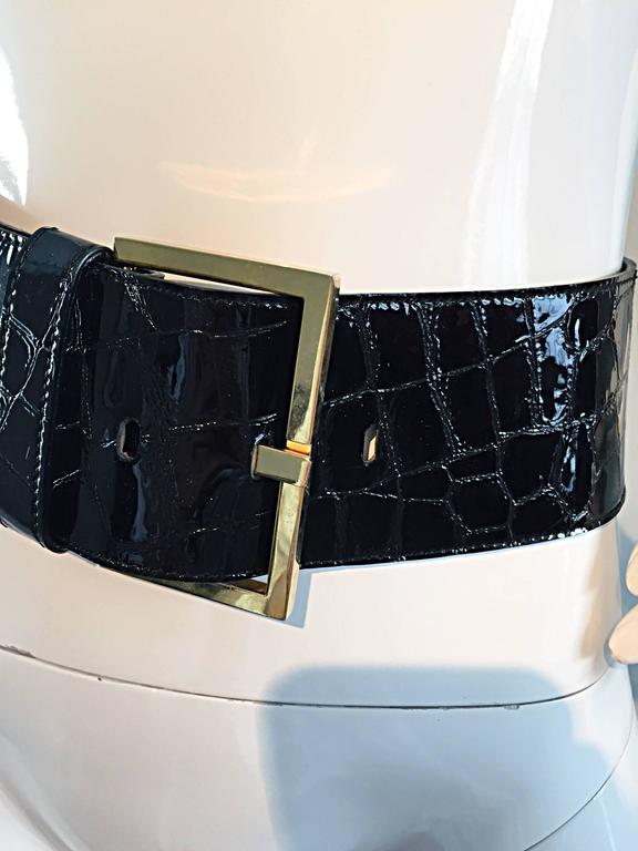 New Vintage Jane August Crocodile Alligator Embossed Black Patent Leather Belt For Sale 2