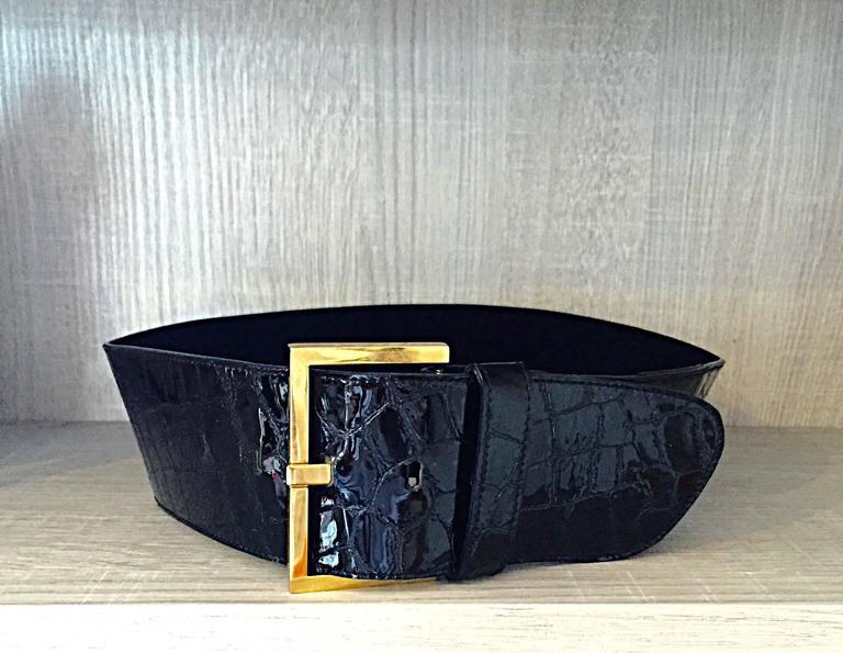 New Vintage Jane August Crocodile Alligator Embossed Black Patent Leather Belt For Sale 1
