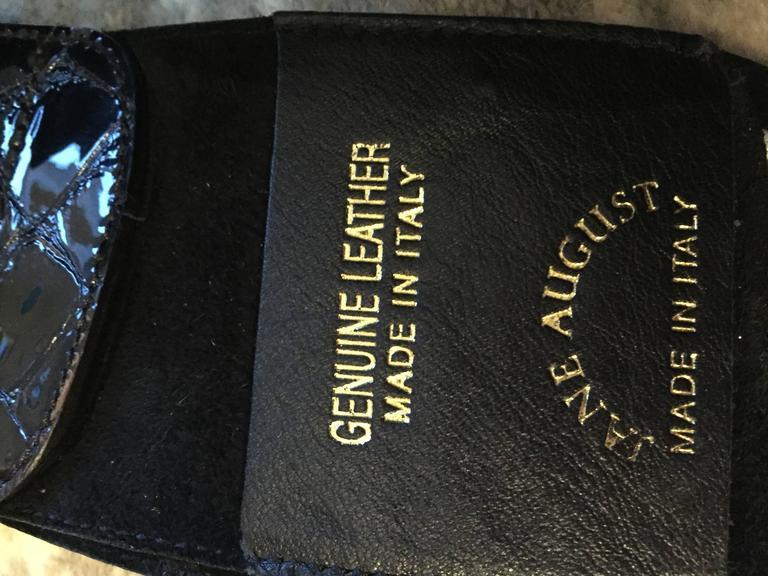 New Vintage Jane August Crocodile Alligator Embossed Black Patent Leather Belt For Sale 5
