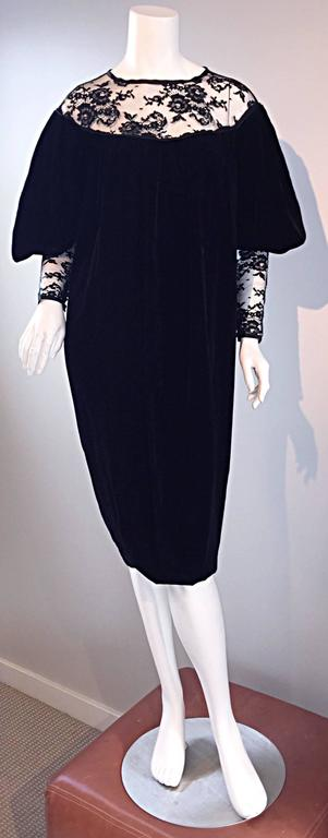Important Documented Vintage Yves Saint Laurent c 1981 Black Velvet + Lace Dress For Sale 2
