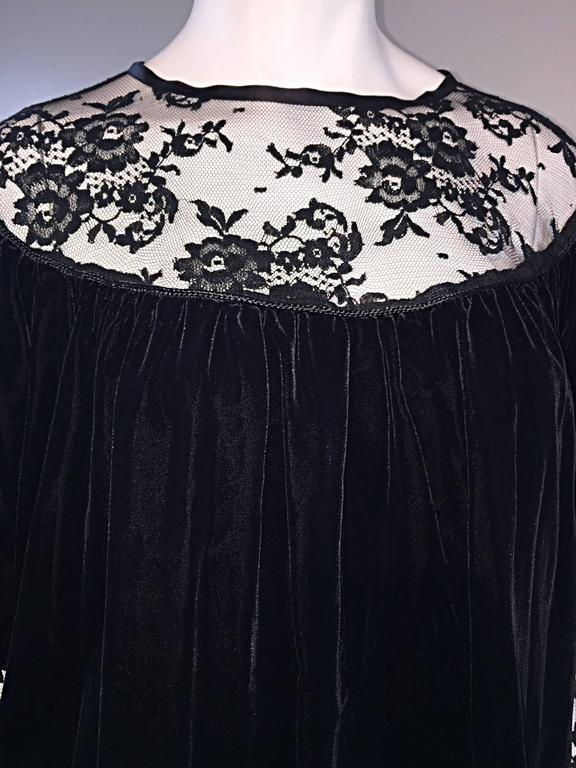 Important Documented Vintage Yves Saint Laurent c 1981 Black Velvet + Lace Dress 8
