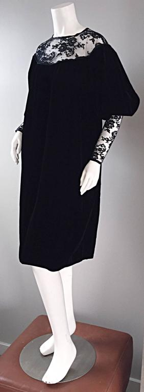 Important Documented Vintage Yves Saint Laurent c 1981 Black Velvet + Lace Dress For Sale 3