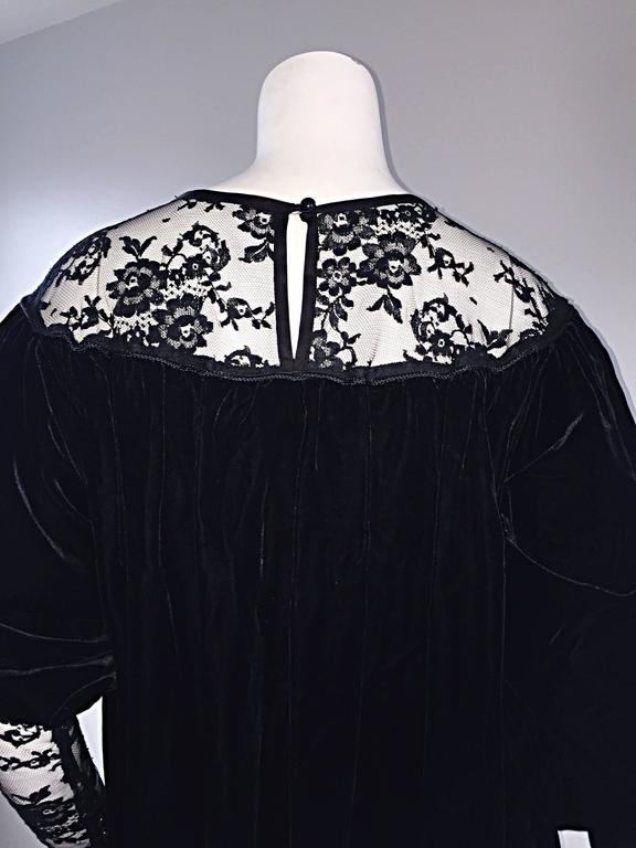 Important Documented Vintage Yves Saint Laurent c 1981 Black Velvet + Lace Dress 5