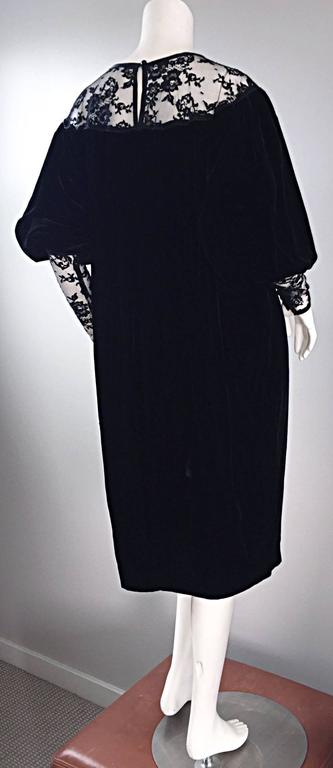 Important Documented Vintage Yves Saint Laurent c 1981 Black Velvet + Lace Dress 2