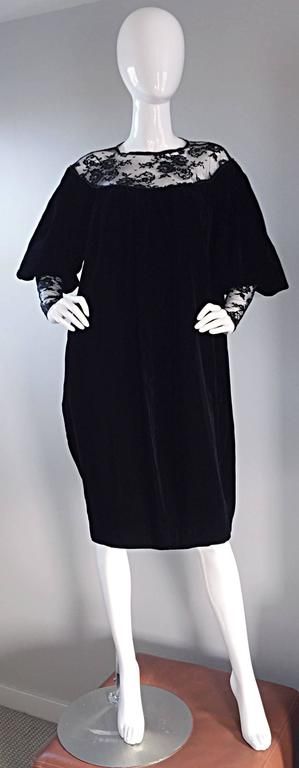 Important Documented Vintage Yves Saint Laurent c 1981 Black Velvet + Lace Dress 4