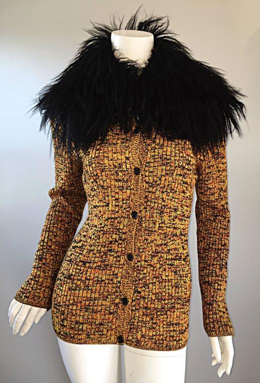 Incredible Vintage Yves Saint Laurent Fourrures Mongolian Fur Sweater Cardigan For Sale 2
