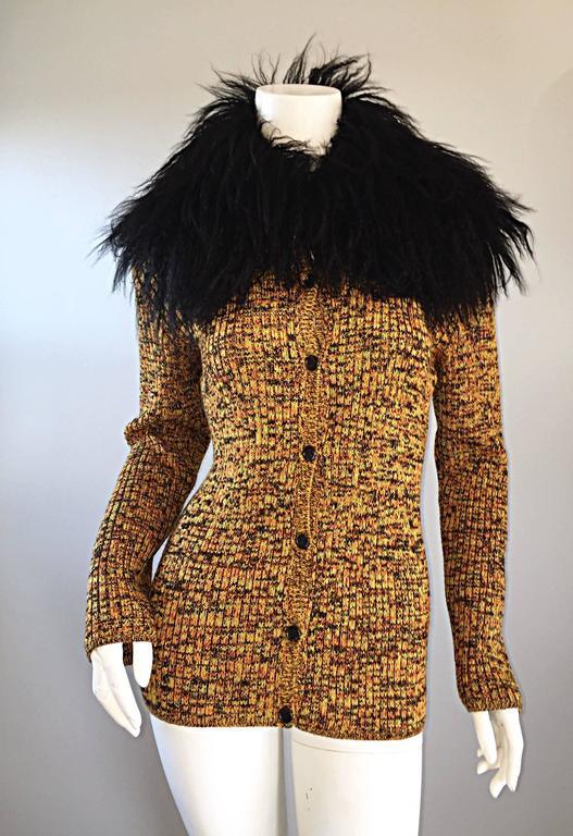 Incredible Vintage Yves Saint Laurent Fourrures Mongolian Fur Sweater Cardigan For Sale 1