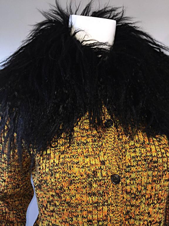 Incredible Vintage Yves Saint Laurent Fourrures Mongolian Fur Sweater Cardigan For Sale 3