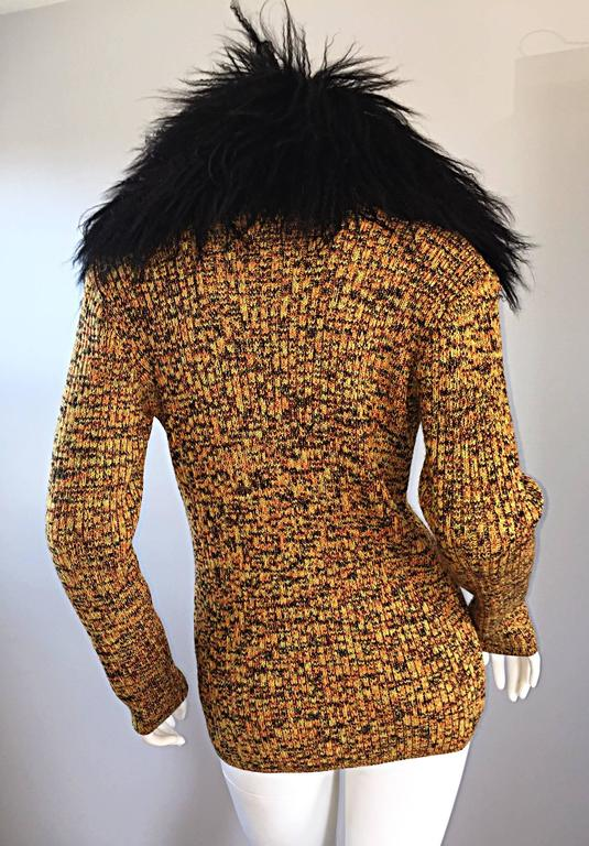 Incredible Vintage Yves Saint Laurent Fourrures Mongolian Fur Sweater Cardigan In Excellent Condition For Sale In Chicago, IL