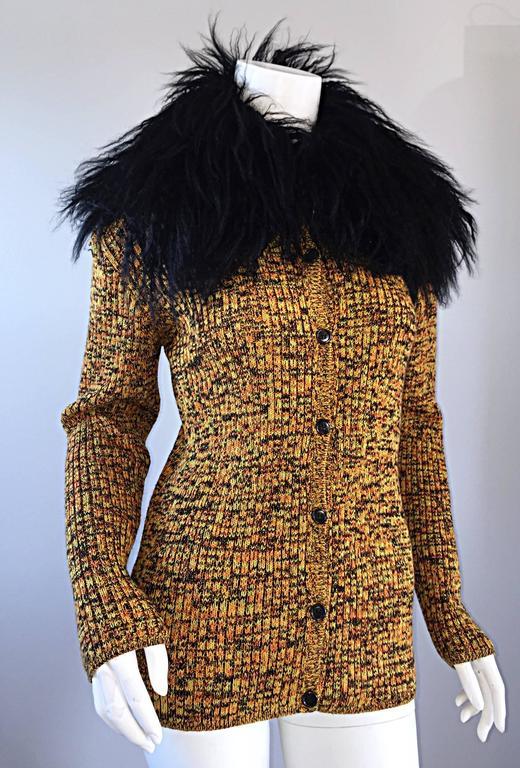 Women's Incredible Vintage Yves Saint Laurent Fourrures Mongolian Fur Sweater Cardigan For Sale