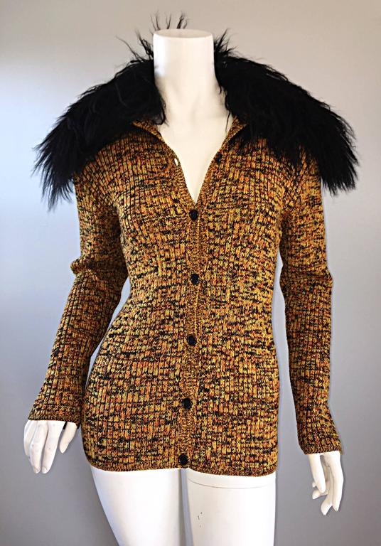 Brown Incredible Vintage Yves Saint Laurent Fourrures Mongolian Fur Sweater Cardigan For Sale