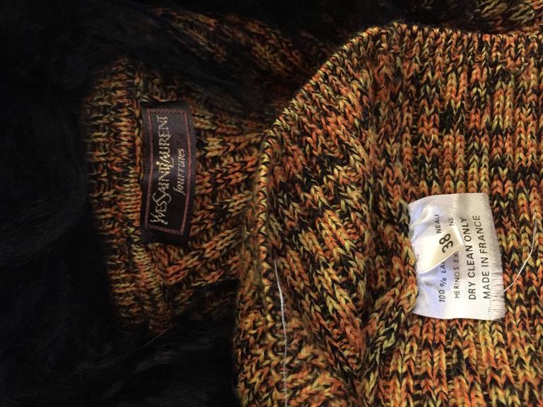 Incredible Vintage Yves Saint Laurent Fourrures Mongolian Fur Sweater Cardigan For Sale 4