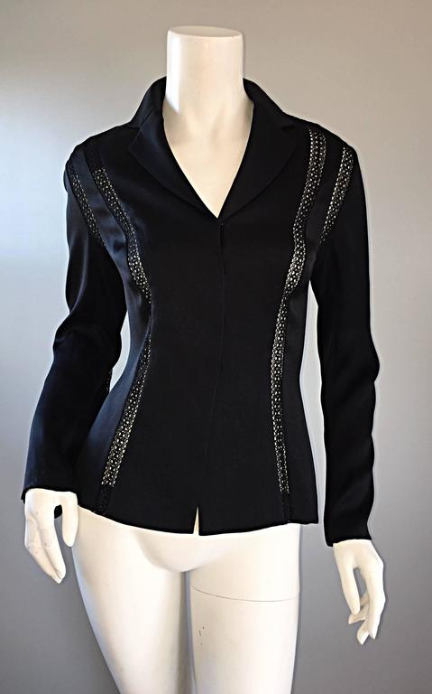 Beautiful Vintage Richard Tyler 1990s 90s Black Silk Cut - Out Crochet Blouse In Excellent Condition For Sale In San Francisco, CA