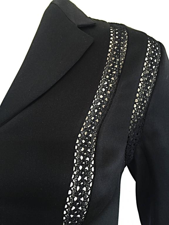 Beautiful Vintage Richard Tyler 1990s 90s Black Silk Cut - Out Crochet Blouse For Sale 3