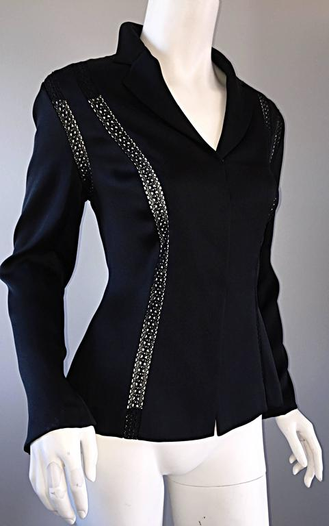 Beautiful Vintage Richard Tyler 1990s 90s Black Silk Cut - Out Crochet Blouse For Sale 5
