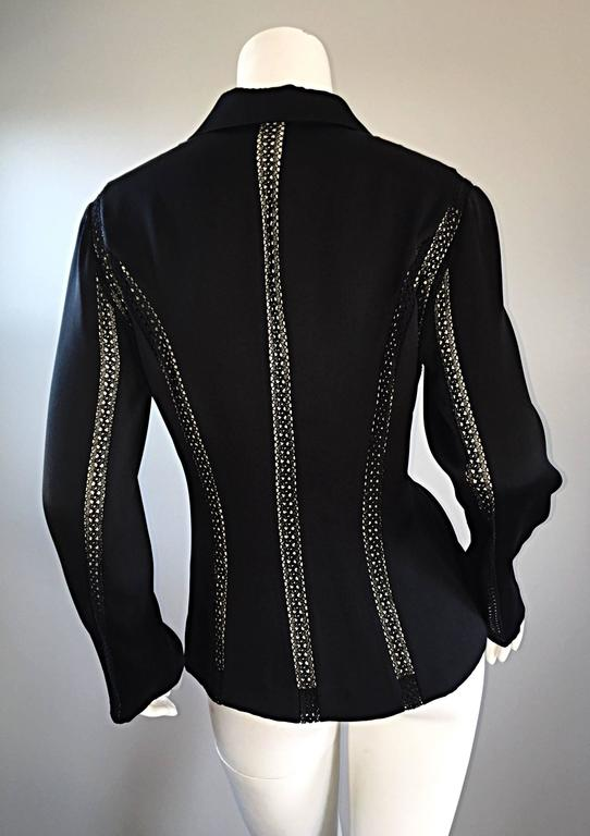 Beautiful Vintage Richard Tyler 1990s 90s Black Silk Cut - Out Crochet Blouse For Sale 1