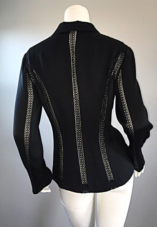 Women's Beautiful Vintage Richard Tyler 1990s 90s Black Silk Cut - Out Crochet Blouse For Sale
