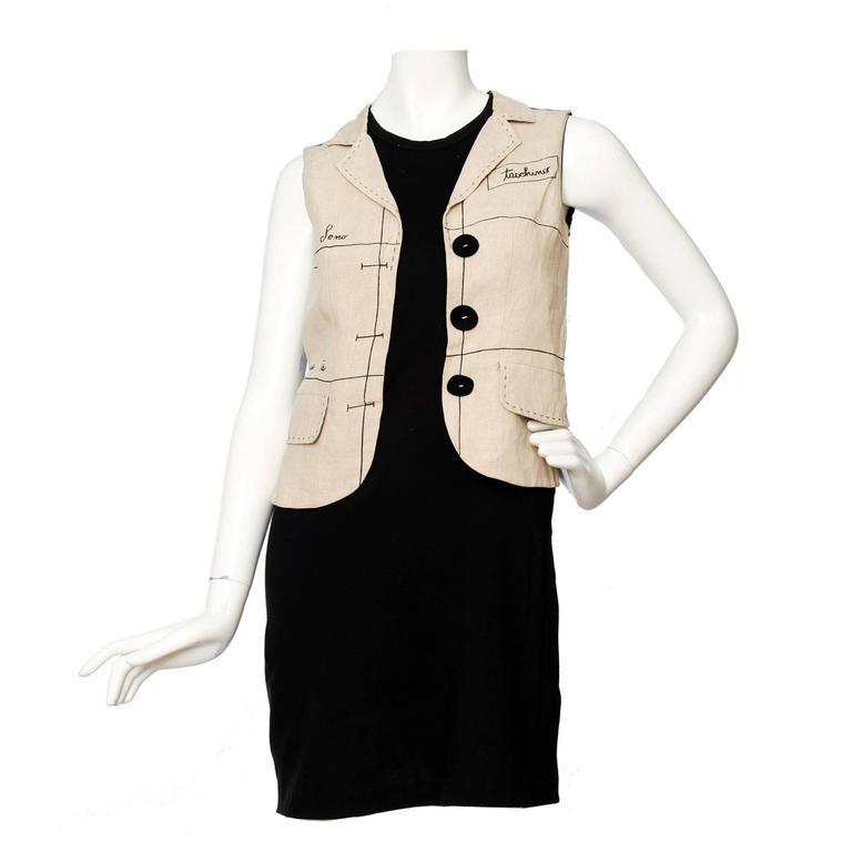 1990s Moschino Black Cotton Dress W. Mock Vest