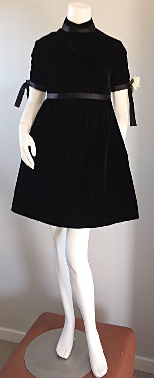 1960s Geoffrey Beene Vintage Black Velvet Empire Waist Trapeze Dress w/ Corsage 3