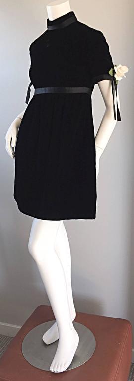 1960s Geoffrey Beene Vintage Black Velvet Empire Waist Trapeze Dress w/ Corsage 8