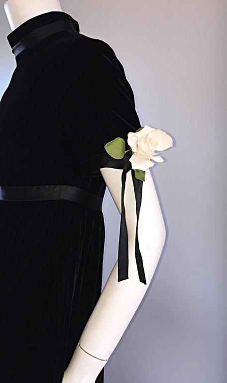 1960s Geoffrey Beene Vintage Black Velvet Empire Waist Trapeze Dress w/ Corsage 7