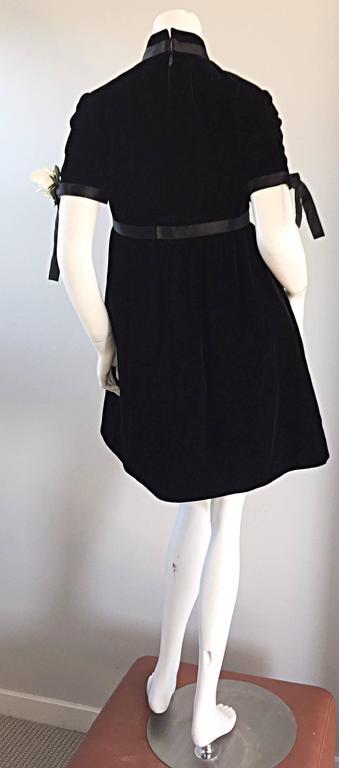1960s Geoffrey Beene Vintage Black Velvet Empire Waist Trapeze Dress w/ Corsage 9
