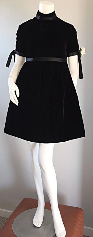 1960s Geoffrey Beene Vintage Black Velvet Empire Waist Trapeze Dress w/ Corsage 4