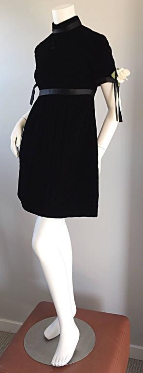 1960s Geoffrey Beene Vintage Black Velvet Empire Waist Trapeze Dress w/ Corsage 6