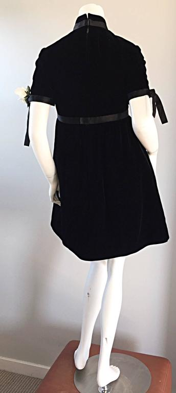 1960s Geoffrey Beene Vintage Black Velvet Empire Waist Trapeze Dress w/ Corsage 2