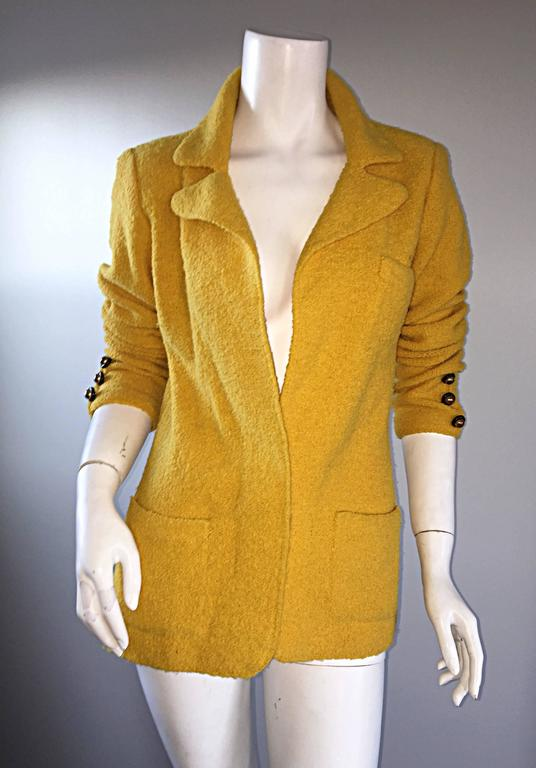 Vintage Adolfo 1970s Mustard Yellow Knit Blazer 70s Fitted Sweater Jacket  6