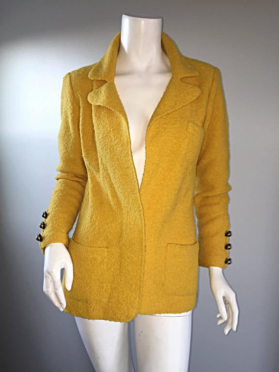 Vintage Adolfo 1970s Mustard Yellow Knit Blazer 70s Fitted Sweater Jacket  8