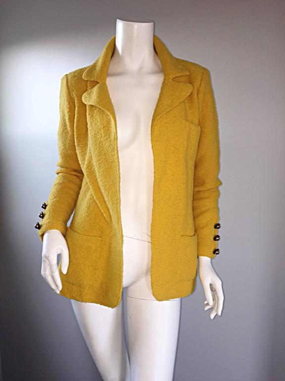 Vintage Adolfo 1970s Mustard Yellow Knit Blazer 70s Fitted Sweater Jacket  For Sale 3
