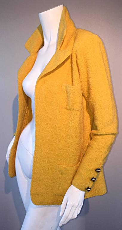 Women's Vintage Adolfo 1970s Mustard Yellow Knit Blazer 70s Fitted Sweater Jacket  For Sale