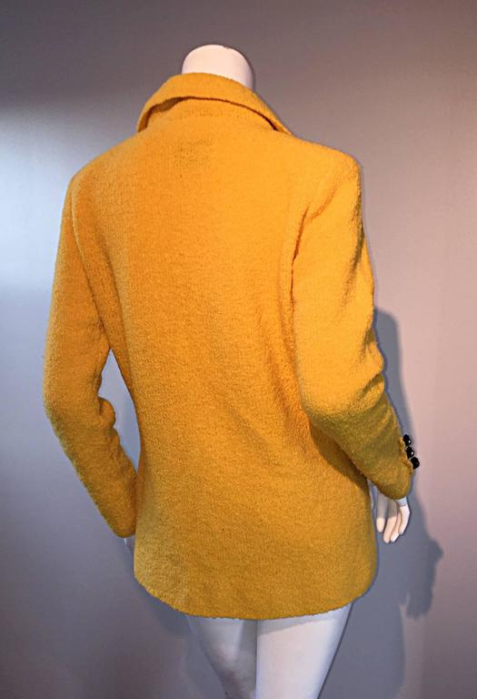 Vintage Adolfo 1970s Mustard Yellow Knit Blazer 70s Fitted Sweater Jacket  5