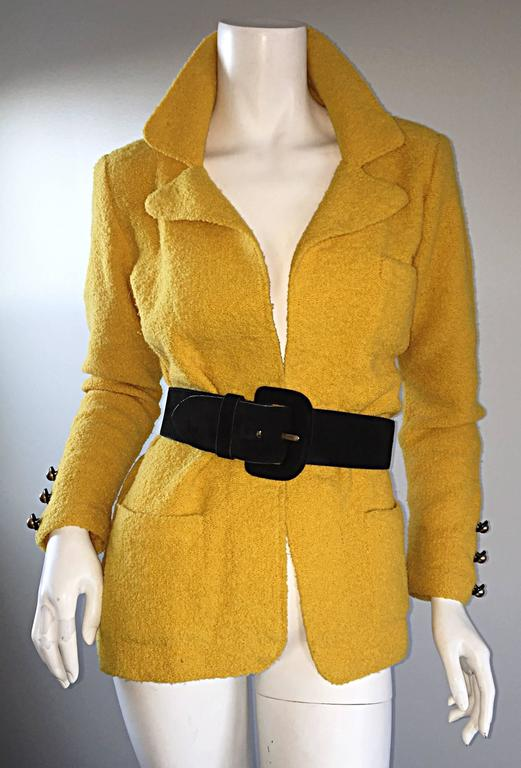 Vintage Adolfo 1970s Mustard Yellow Knit Blazer 70s Fitted Sweater Jacket  3