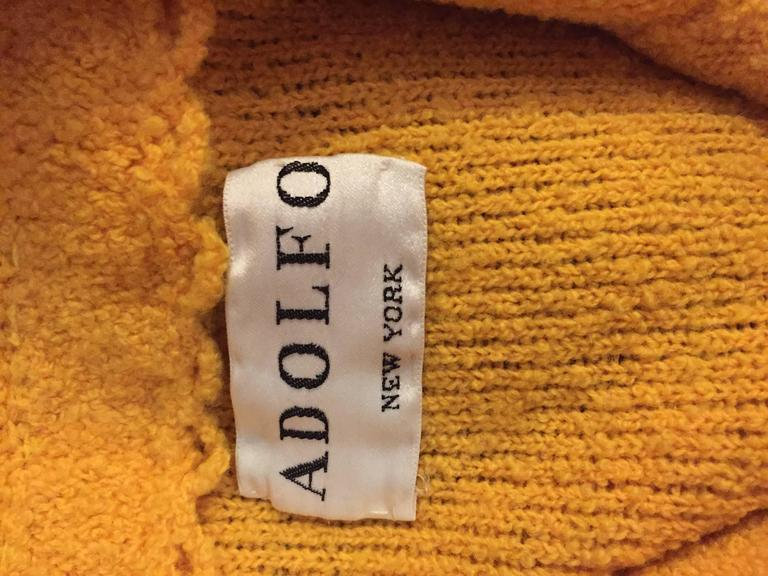 Vintage Adolfo 1970s Mustard Yellow Knit Blazer 70s Fitted Sweater Jacket  9
