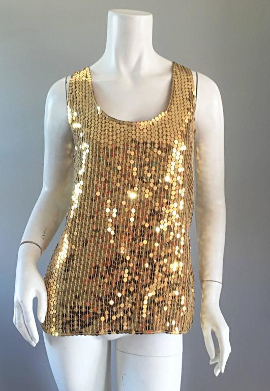 Vintage Oleg Cassini Gold Sequin Silk Blouse / Shirt  3