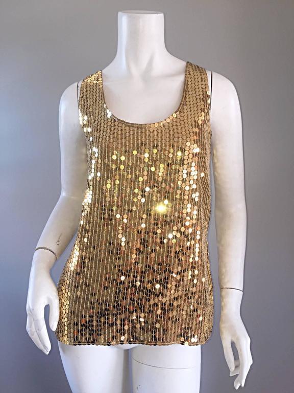 Vintage Oleg Cassini Gold Sequin Silk Blouse / Shirt  4