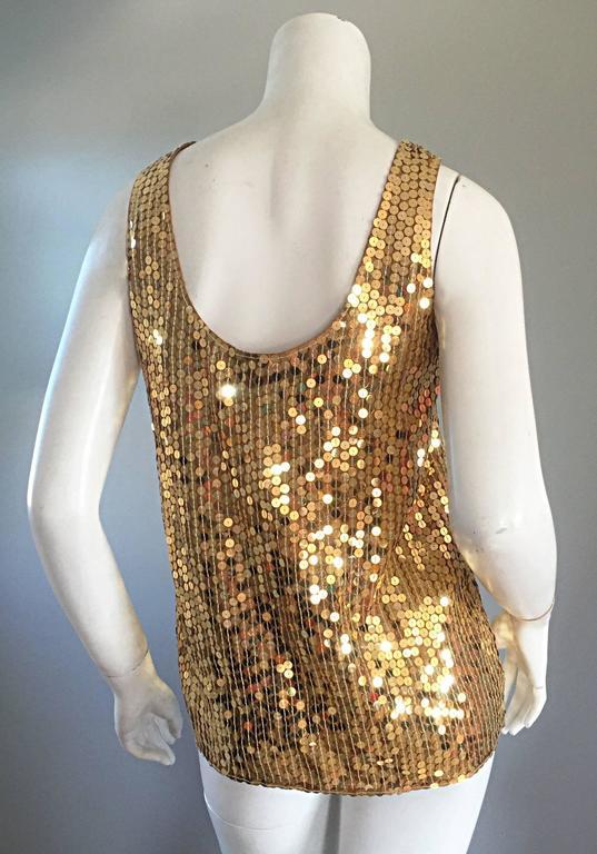 Vintage Oleg Cassini Gold Sequin Silk Blouse / Shirt  6