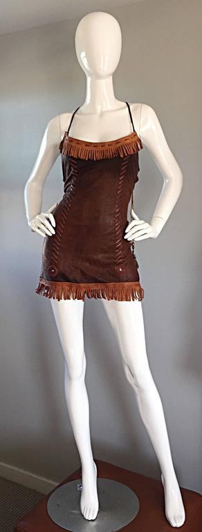 Women's That Dsquared Sexy Leather Mini Dress Worn on Runway by Christina Aguilera 2002 For Sale