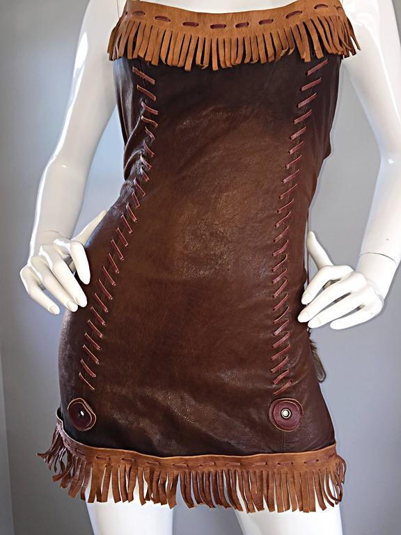 That Dsquared Sexy Leather Mini Dress Worn on Runway by Christina Aguilera 2002 For Sale 2