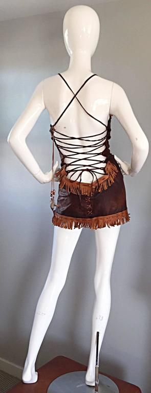That Dsquared Sexy Leather Mini Dress Worn on Runway by Christina Aguilera 2002 In Excellent Condition For Sale In San Francisco, CA