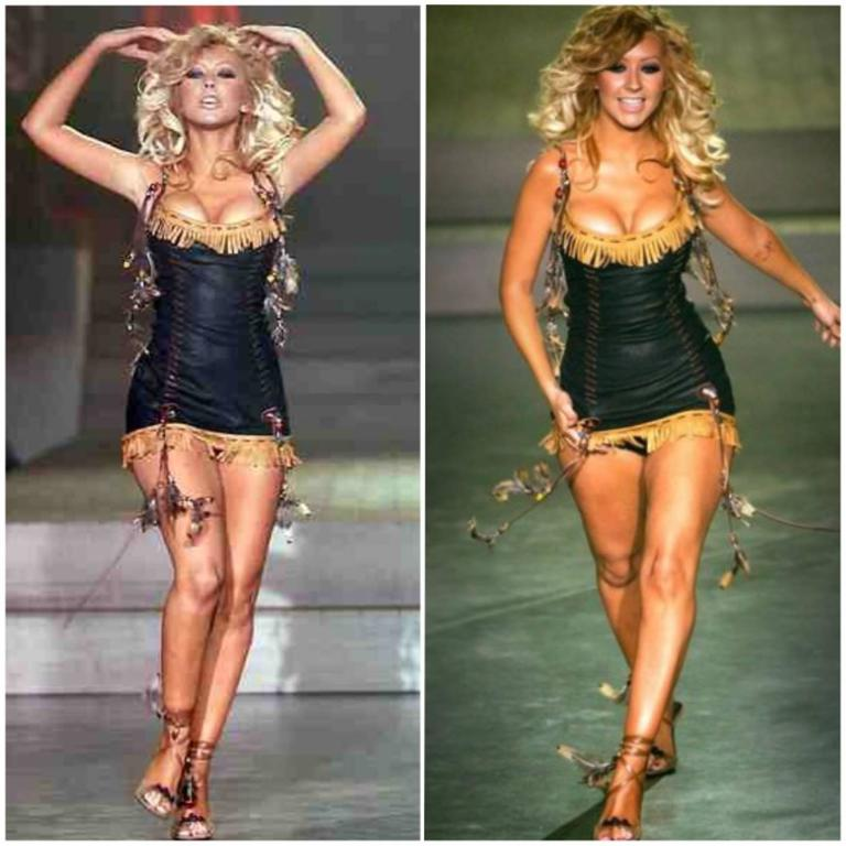 That Dsquared Sexy Leather Mini Dress Worn on Runway by Christina Aguilera 2002 3