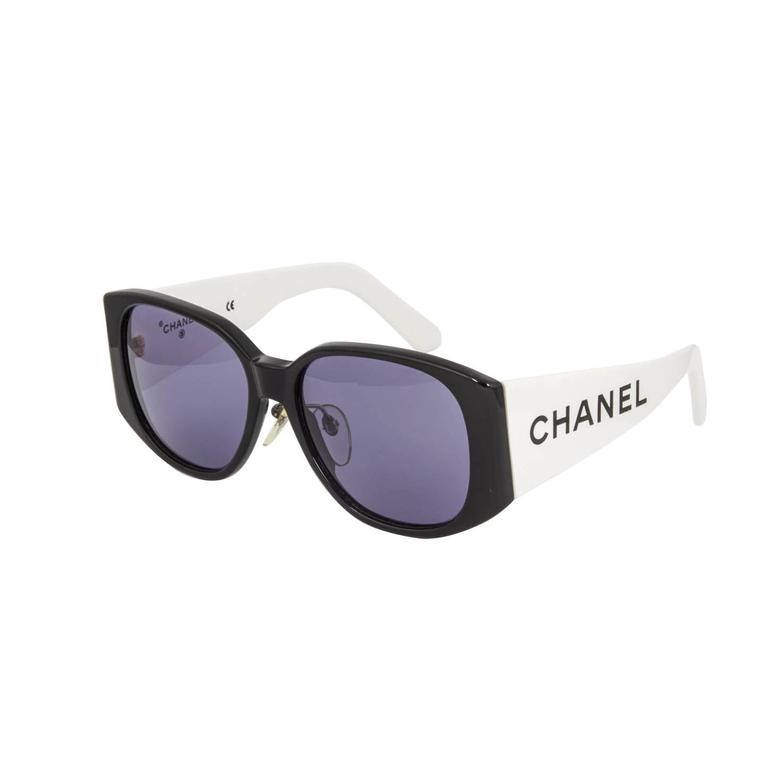 1063fe1425 Chanel Black And White Logo Sunglasses at 1stdibs
