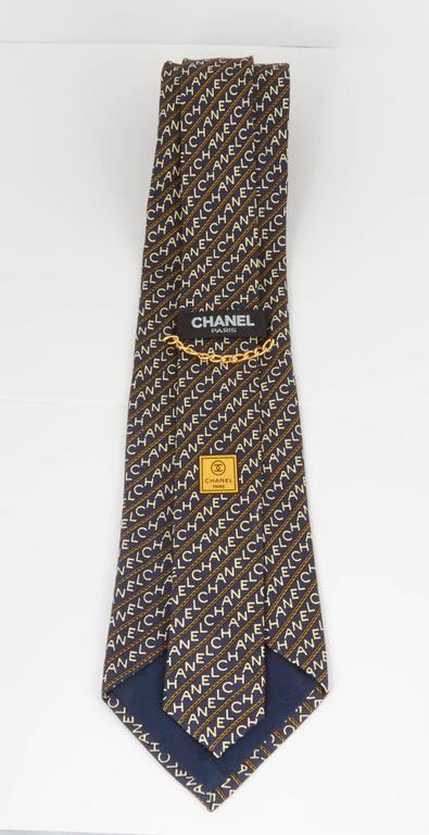 Rare Chanel Men's Black Tie with Logos  4