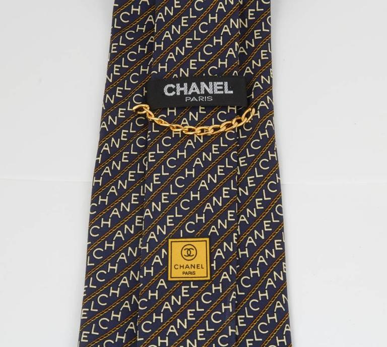 Rare Chanel Men's Black Tie with Logos  5