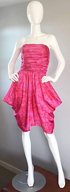 Vintage Victor Costa Hot Pink + Red Avant Garde Strapless Ruched Dress 7